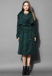 chicwish,premium belted coat,dark green wool-blend coat