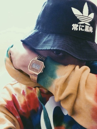 adidas bucket hat japanese jewels menswear mens watch mens hoodie mens hat watch tumblr hat jacket tie dye bucket hat trap tye dye hoodie casio watch shirt sweater multicolor japanese fashion