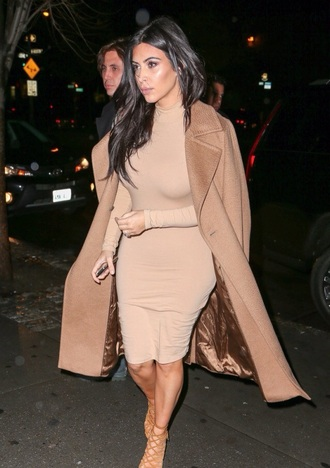 dress kim kardashian nude nude dress midi dress all nude everything nude high heels kim kardashian dress turtleneck dress