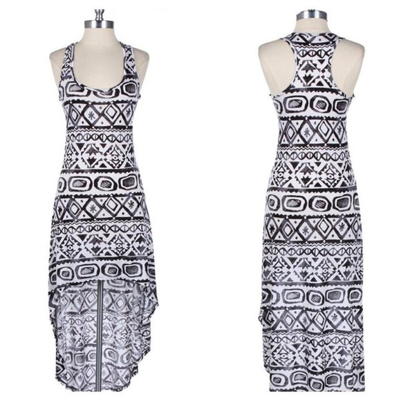 aztec aztec print tribal pattern dress tribal tribal print cute dress maxi dress summer dress high-low dresses tribal print dress tribal, ariana grande, selena gomez, cute, tribal aztec print white, summer, aztec, tribal, hi low dress, aztec dress