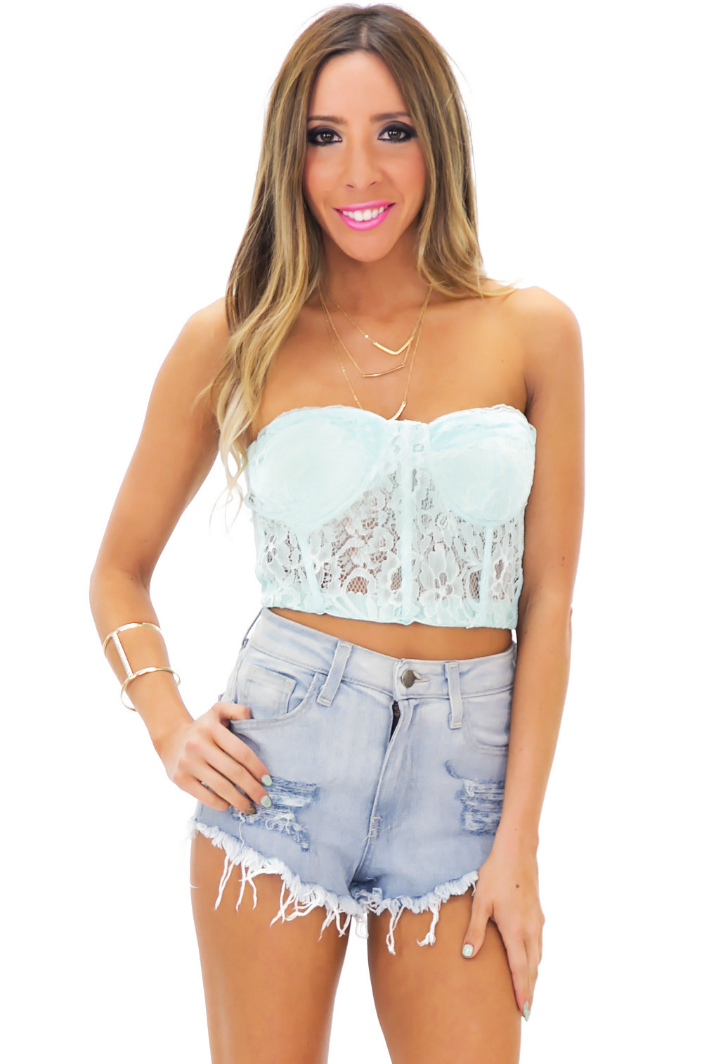 RIPPED LIGHT WASH DENIM SHORTS | Haute & Rebellious