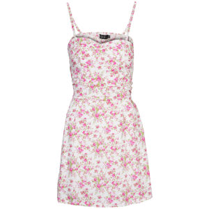 Club L Women's Strappy Floral Skater Dress - White 			Womens Clothing | TheHut.com