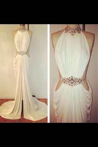 dress classy prom dress white dress stunnning jewels
