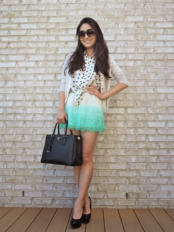 sensible stylista sunglasses cardigan top skirt shoes bag