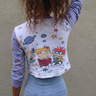rugrats long sleeves top galaxy print science stars violet cropped sweater grunge vintage shirt 90s style cartoon indie band lavender white 90's shirt 90's fashion crop graphic tee