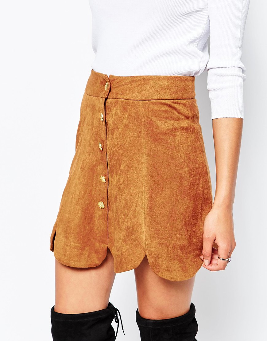 8c7eb8f7d Daisy Street Scalloped Skirt In Faux Suede at asos.com