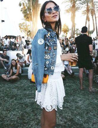 jacket patched denim denim jacket denim skirt lace skirt mini skirt white skirt shirt white shirt sunglasses festival
