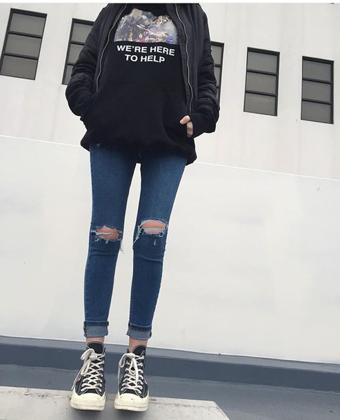 Jeans sweater bomber jacket outfit goals outfit grunge fall outfits ripped jeans shirt ...