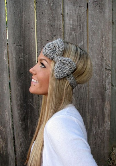 hat bow headband knitted