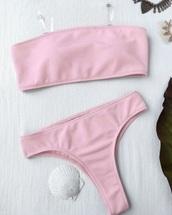swimwear,girly,pink,swimwear two piece,two-piece,bikini,bikini top,bikini bottoms,bandeau bikini