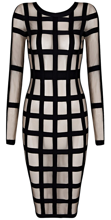 Long Sleeve Mesh Midi Bandage Dress Black Nude