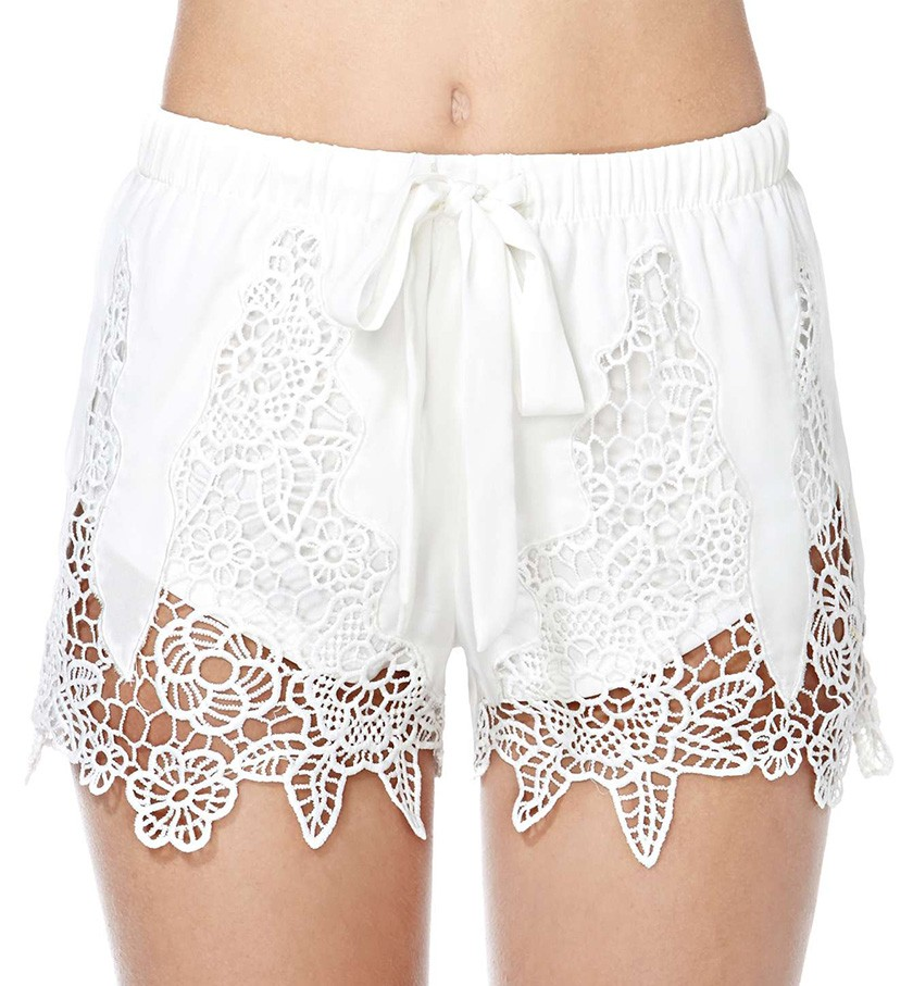 Runner Shorts With Crochet Lace Inserts