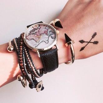 jewels watch black map print map watch jewelry hand jewelry arrow gold accessories accessory bracelets stacked bracelets