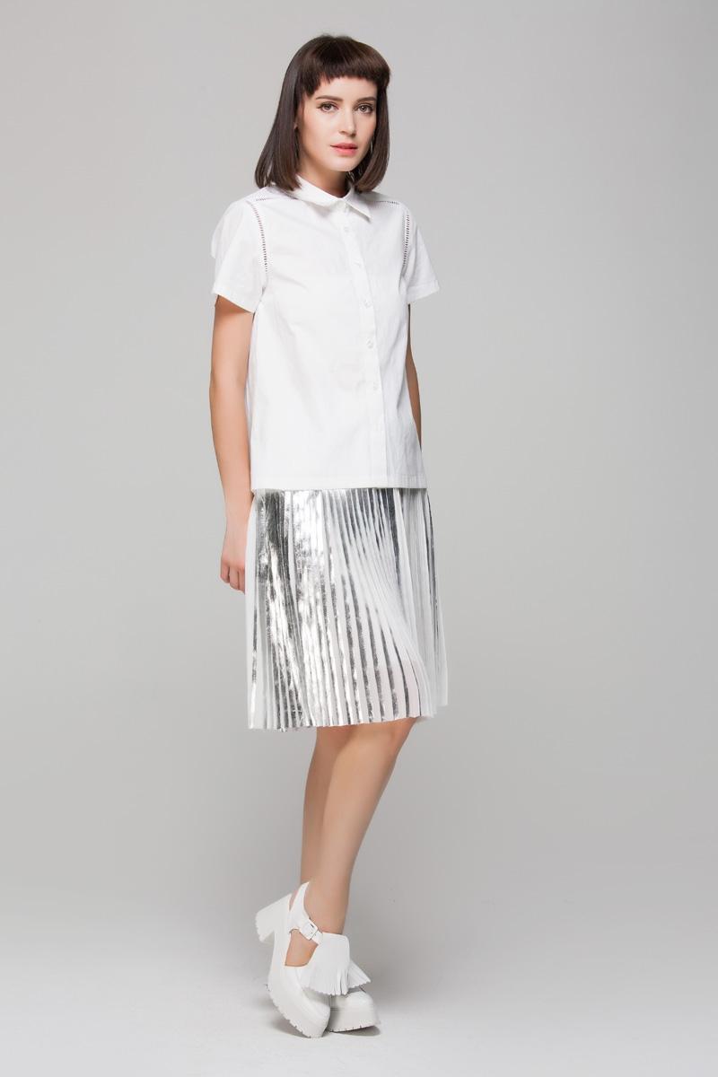 midi skirt in silver pleats