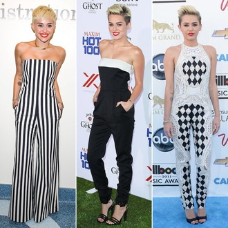 jumpsuit miley cyrus balmain stripes black and white