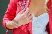 coat,studded jacket,pink,jewels,jacket,leather jacket,leather,red,redleather,studs,silver,silverstuds,studded,white,spiked leather jacket,pink jacket