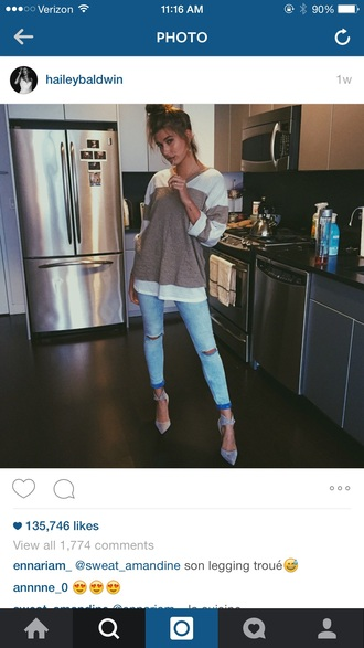 hailey baldwin light blue jeans ripped jeans shirt striped shirt heels grey
