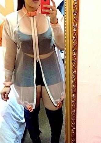 jacket plastic dress zipper 90s style see through buckle detail dress curvy