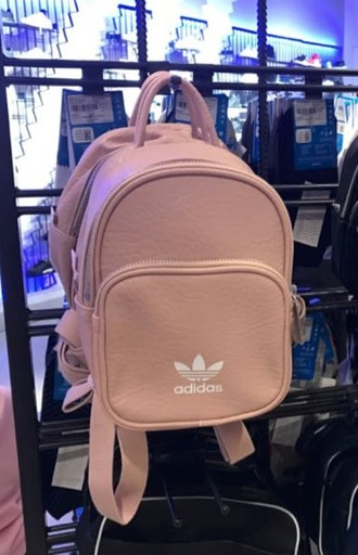 bag adidas backpack mini backpack pink rose gold nude cute