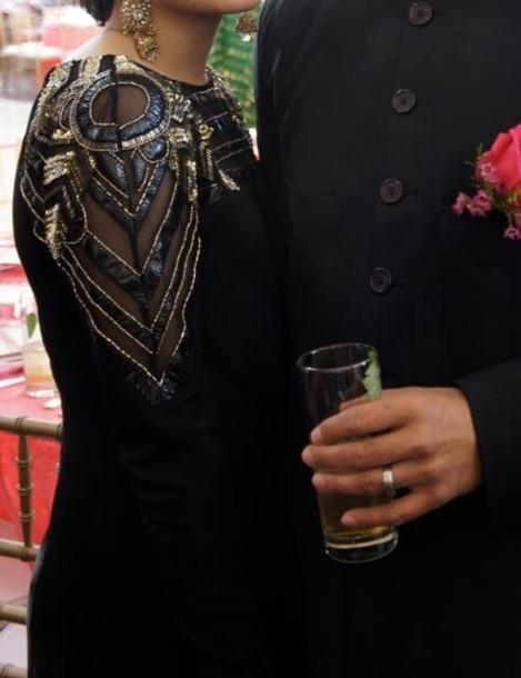 dress black dress maxi dress long sleeves long gown gown embellished dress fancy fancy dress gold beaded dress gold and black black and gold beaded embellished sequin dress glitter dress