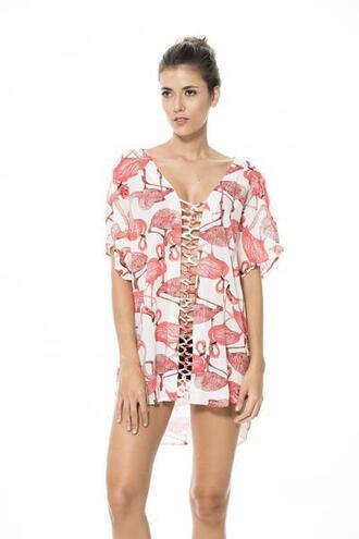 dress cover up malai swimwear pink print white bikiniluxe