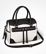 COLOR BLOCK DOUBLE ZIP FRONT SATCHEL | Express