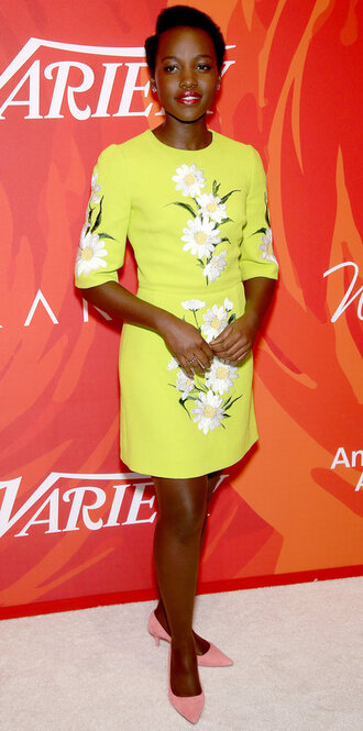 dress yellow yellow dress pumps spring dress lupita nyong'o