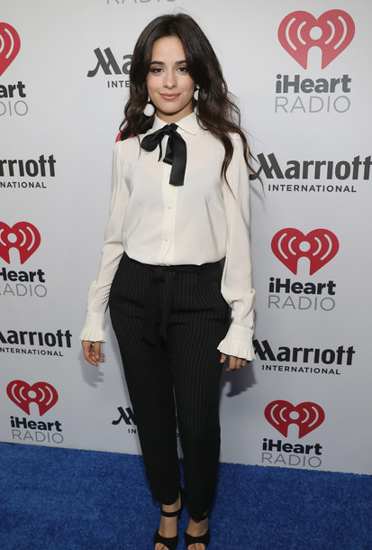 blouse shirt pants sandals black and white camila cabello