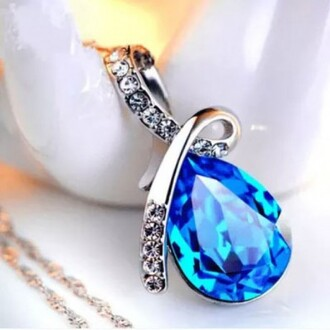 jewels blue water drop cubic zirconia pendant 925 sterling silver necklace evolees.com women jewelry fashion jewelry necklace for girls pendant necklace blue princess crystal necklace
