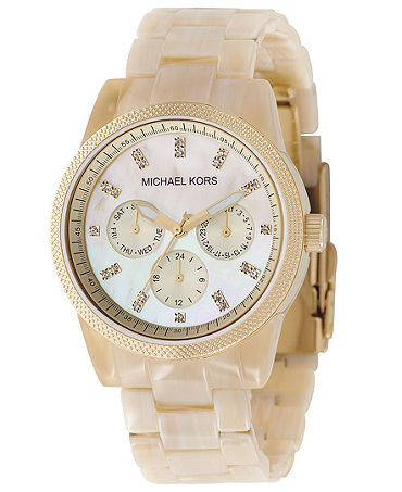 Michael Kors Watch, Women's Chronograph Ritz Resin Horn Bracelet 36mm MK5039 - Watches - Jewelry & Watches - Macy's