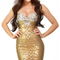 Embellished bandeau woodgrain foil print bandage dress gold