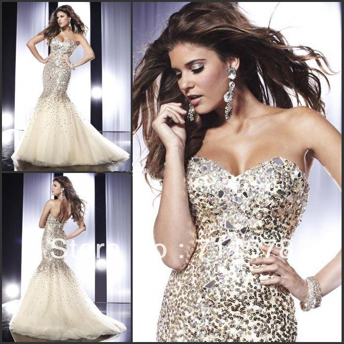 Free shipping champagne mermaid sweetheart organza sequined prom dresses 2013 evening dresses with crystals (el0706)