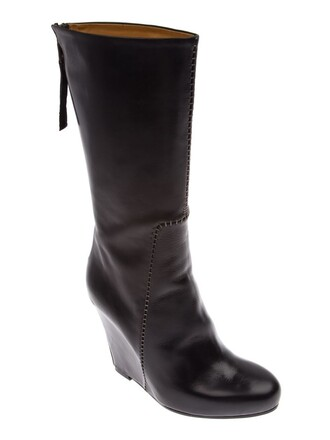 boot women leather black shoes