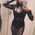 Embellished Mesh Three Piece Bandage Dress Black