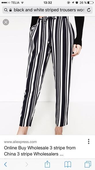 pants stripes striped pants black and white pants