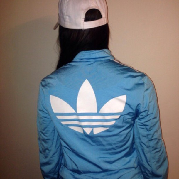Jacket: raincoat, adidas, baby blue, white, coat, adidas jacket ...