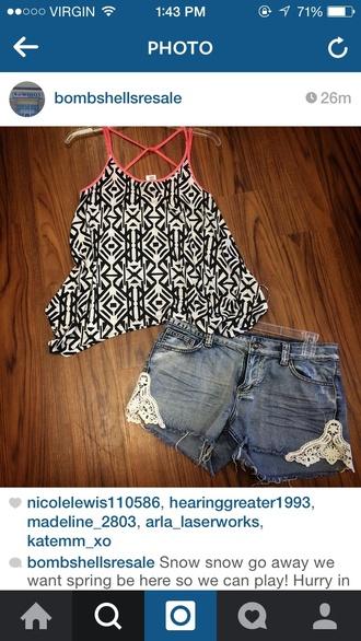 top blouse crop tops shorts denim shorts