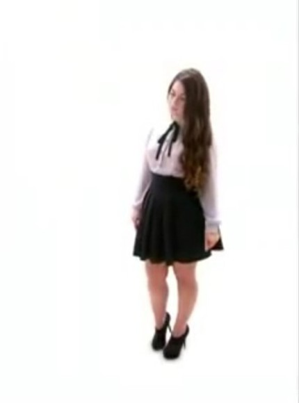 black skirt flowy blouse white button up black boot heels