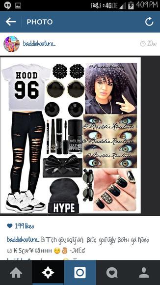jeans t-shirt hood 96 hood black and white outfit outfit idea blaaaze baddiekouture_ bag