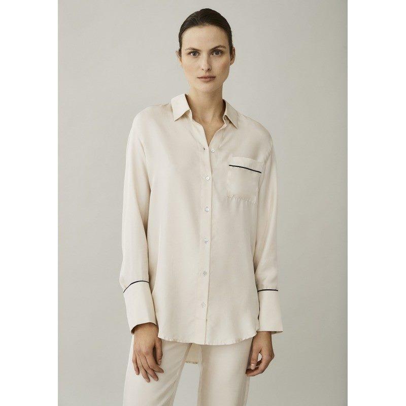 Milan Cream Silk Twill Oversized Shirt