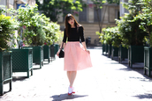 meet me in paree,blogger,shoes,skirt,top,bag
