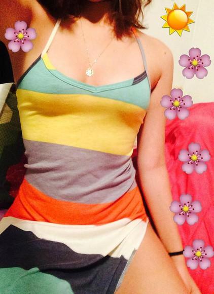 sundress stripes maxi dress clothes striped dress slit dress slit skirt maxi skirt body central