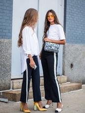 pants,black,white,fahsion,striped pants,dark blue,model