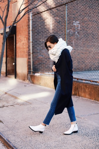 we wore what blogger scarf checkered white shoes