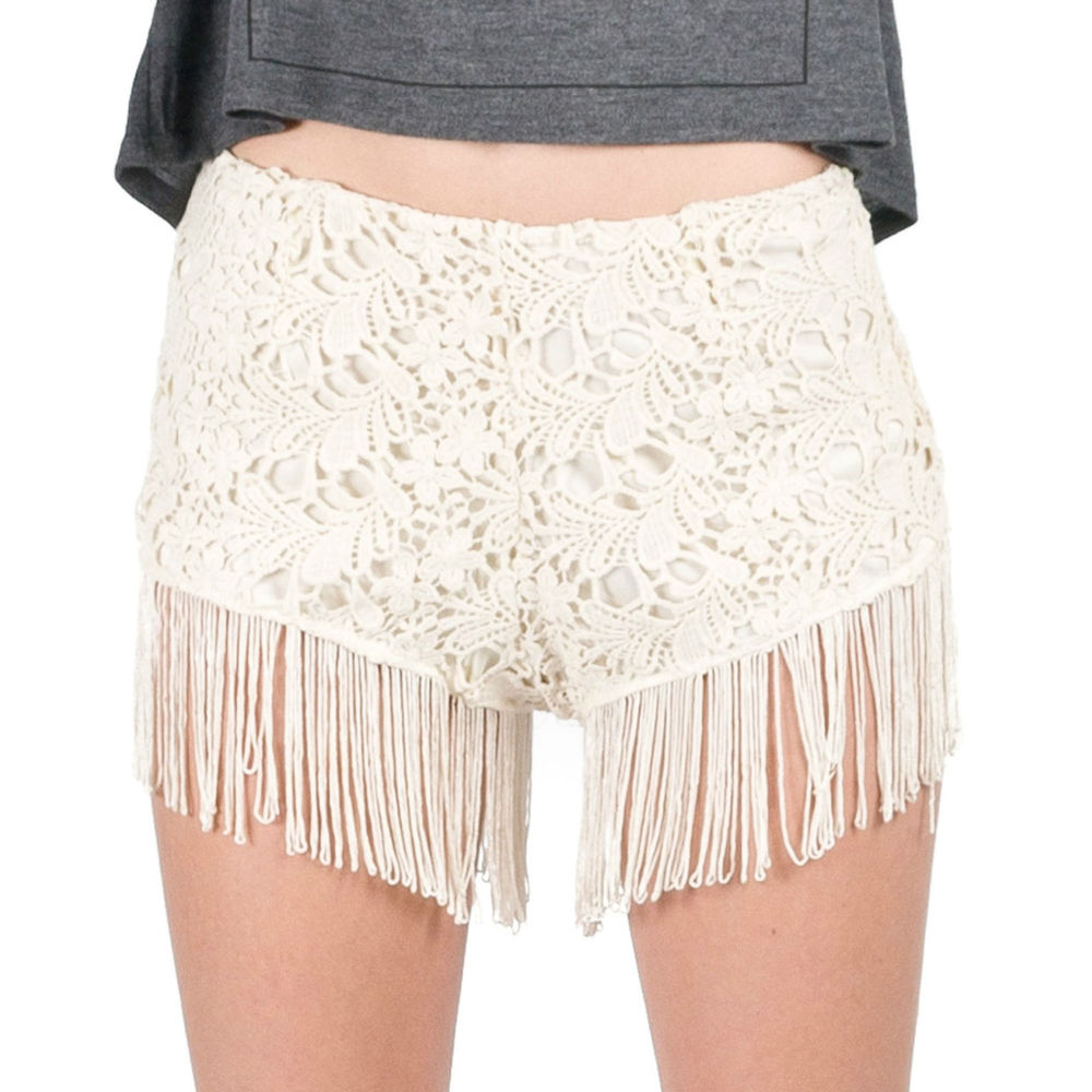 Cream Ivory Curtain Fringed Bottom Crochet High Rise Hippie Festival Shorts SML | eBay