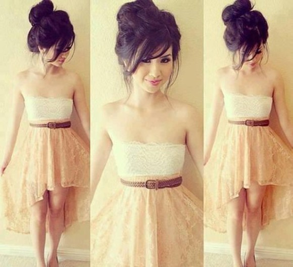 skirt dress waist belt belt lace dress lace white and beige beige dress brown belt tank top