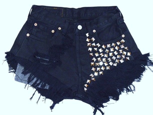 shorts jeans t-shirt High waisted shorts ripped shorts studded shorts underwear
