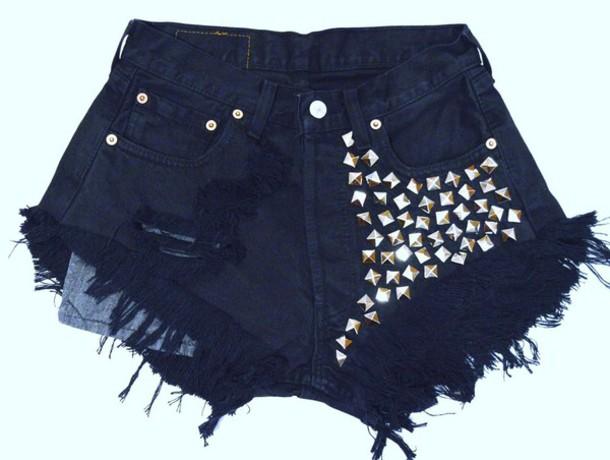 shorts jeans t-shirt High waisted shorts ripped shorts studded shorts underwear