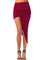Claret red plain ruche asymmetric bodycon skirt