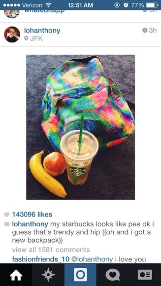 tie dye bag lohanthony backpack hippie cool grunge hipster